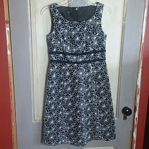 Talbots Petite Black and White Floral Dress